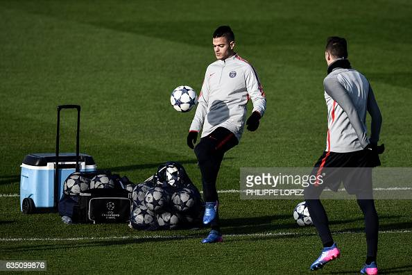 Paris SaintGermain's French midfielder Hatem Ben Arfa takes part in a training session on February 13 2017 in SaintGermainenLaye west of Paris on the...