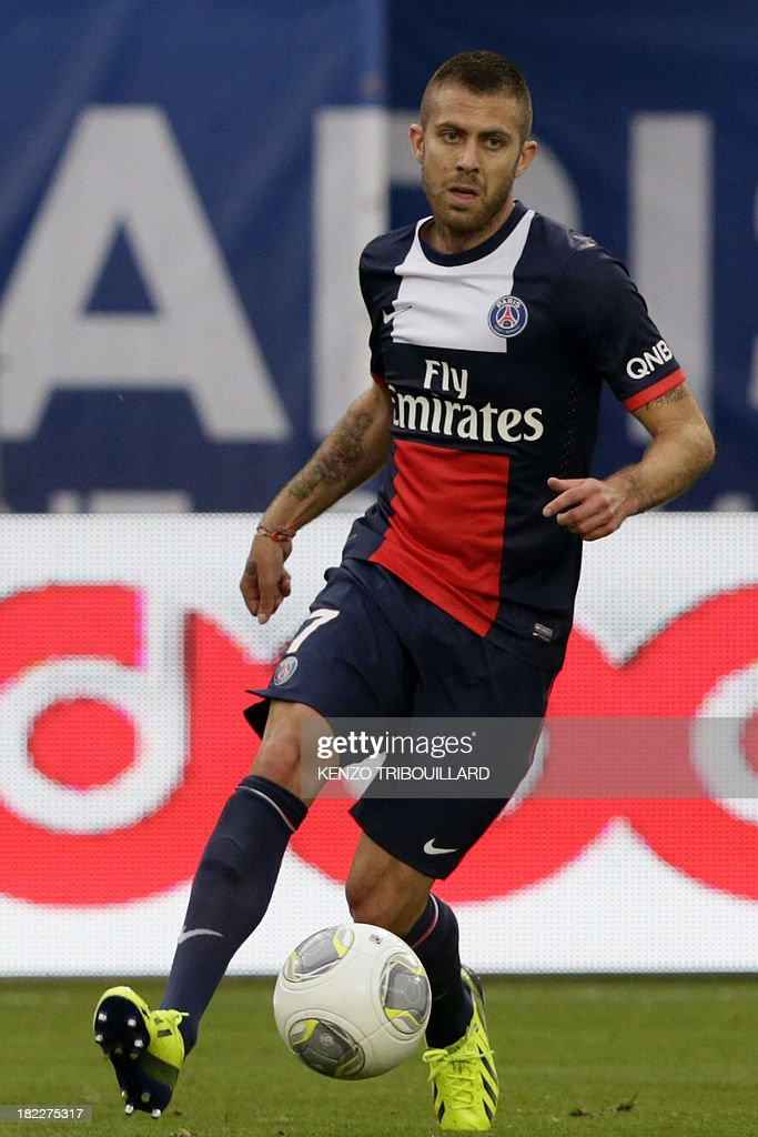 Paris Saint-Germain's French midfielder Jeremy Menez controls the ball during the French L1 football match between Paris Saint-Germain and Toulouse at the Parc des Princes Stadium in Paris on September 28, 2013. PSG won 2-0.