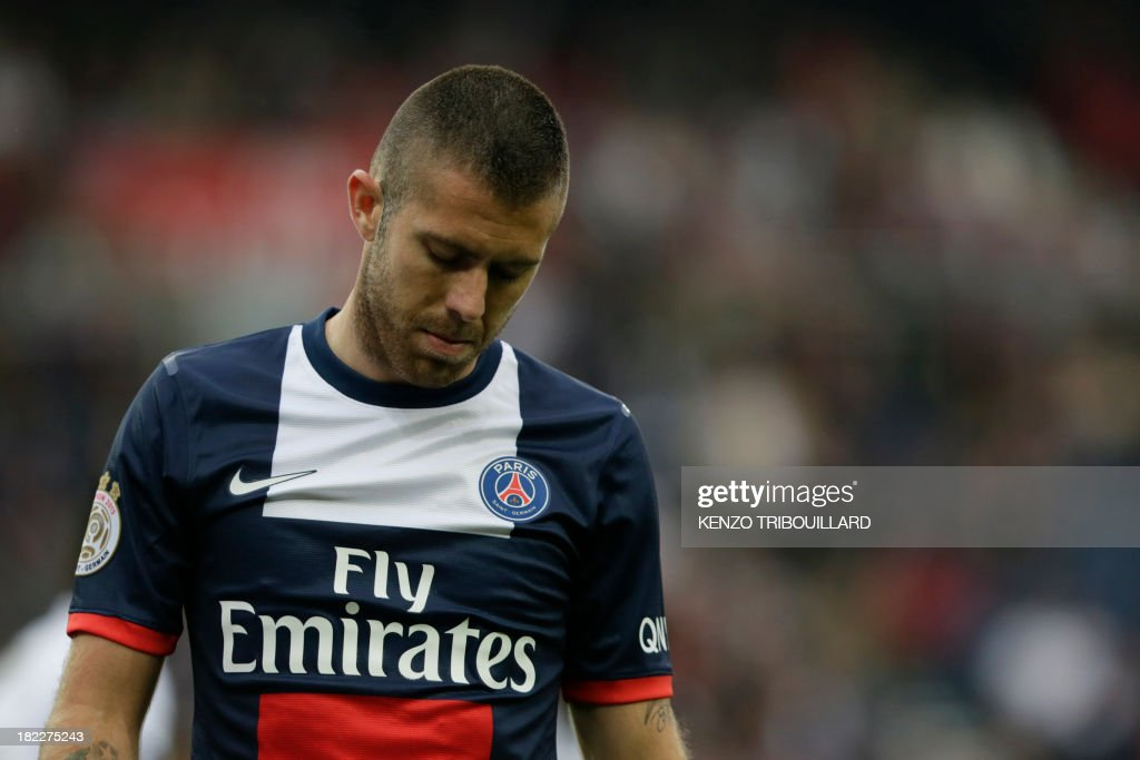 Paris Saint-Germain's French midfielder Jeremy Menez reacts during the French L1 football match Paris Saint-Germain vs Toulouse FC at the Parc des Princes Stadium in Paris on September 28, 2013. PSG won 2-0.