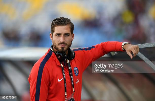 Paris SaintGermain's German goalkeeper Kevin Trapp looks on ahead of the French Trophy of Champions football match between Monaco and Paris...