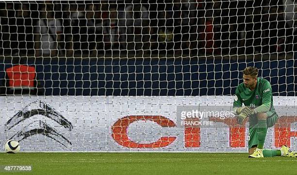 Paris SaintGermain's German goalkeeper Kevin Trapp reacts after conceding a goal during the French L1 football match between Paris SaintGermain and...