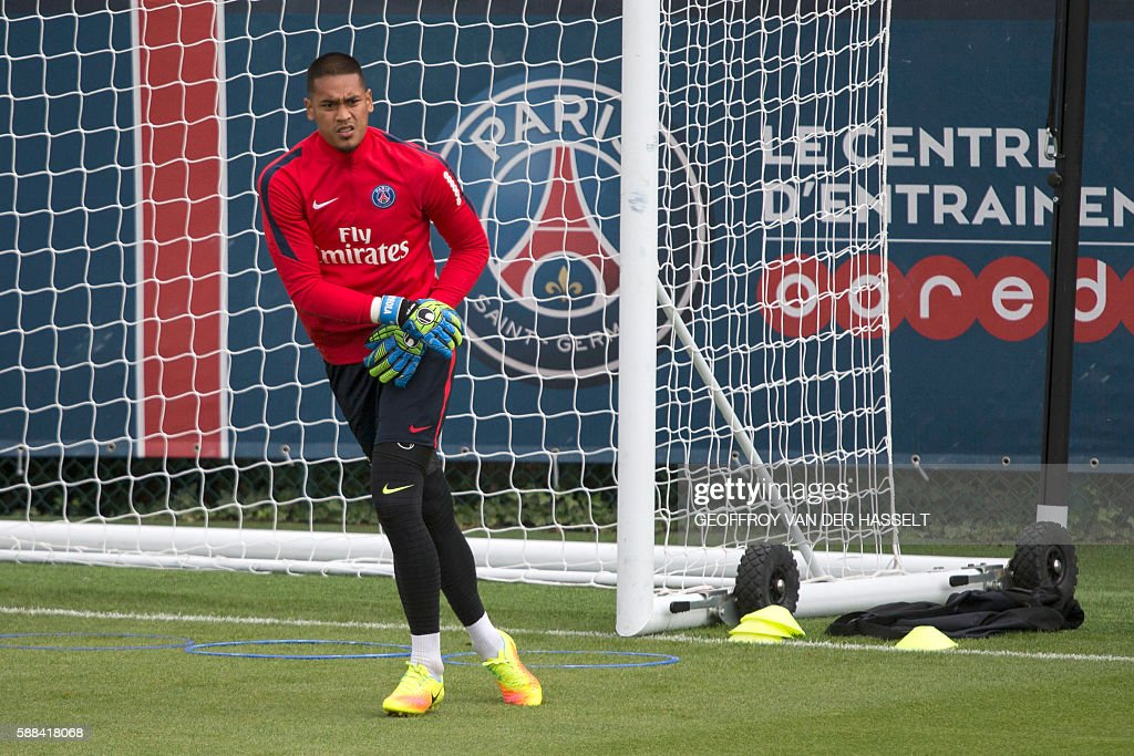 Paris SaintGermain's goalkeeper Alphonse Areola attends a training session at the Camp des Loges training centre in SaintGermainenLaye west of Paris...
