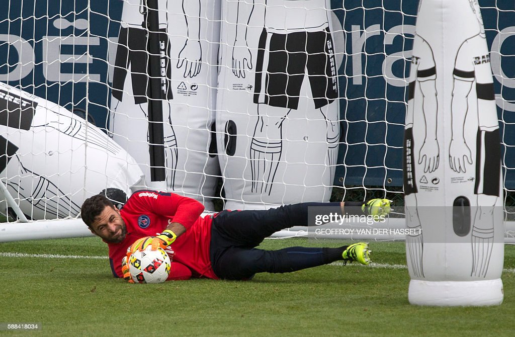 Paris SaintGermain's goalkeeper Salvatore Sirigu attends a training session at the Camp des Loges training centre in SaintGermainenLaye west of Paris...