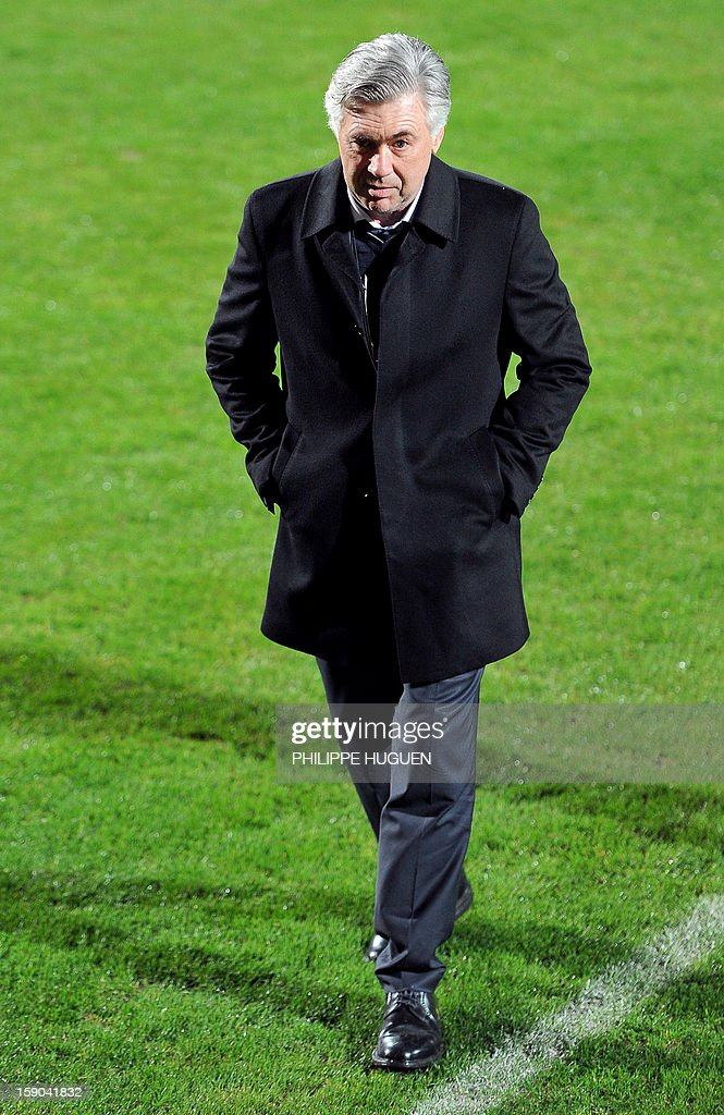 Paris Saint-Germain's head coach Carlo Ancelotti attends the French cup football match Arras vs Paris Saint-Germain, on January 6, 2013 at the Epopee Stadium in Calais, northern France. AFP PHOTO / PHILIPPE HUGUEN