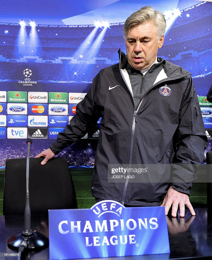Paris Saint-Germain's Italian coach Carlo Ancelotti arrives prior to a press conference at Mestalla stadium in Valencia on February 11, 2013 on the eve of their UEFA Champions League football match against Valencia.