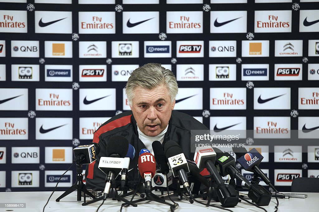 Paris Saint-Germain's Italian coach Carlo Ancelotti speaks during a press conference at the club's training center, le camp des loges, on January 5, 2013 in Saint-Germain en Laye, west of Paris. PSG is to play a French Cup football match against Arras the day after.