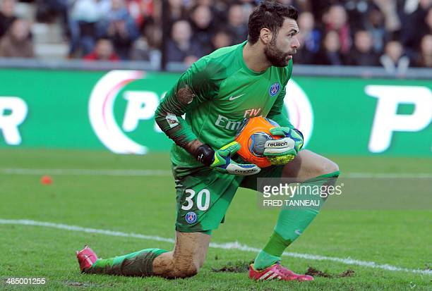 Paris SaintGermain's Italian goalkeeper Salvatore Sirigu holds the ball during the French L1 football match between Guingamp and Paris SaintGermain...