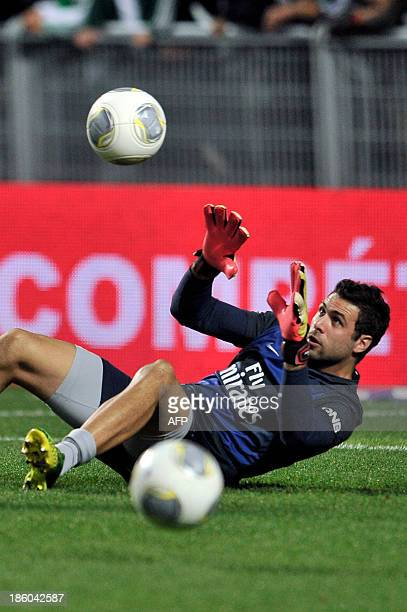 Paris SaintGermain's Italian goalkeeper Salvatore Sirigu warms up before the start of the French Ligue1 football match between SaintEtienne against...