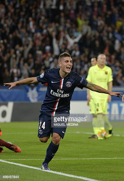 Paris SaintGermain's Italian midfielder Marco Verratti celebrates after scoring a goal during the UEFA Champions League football match between Paris...
