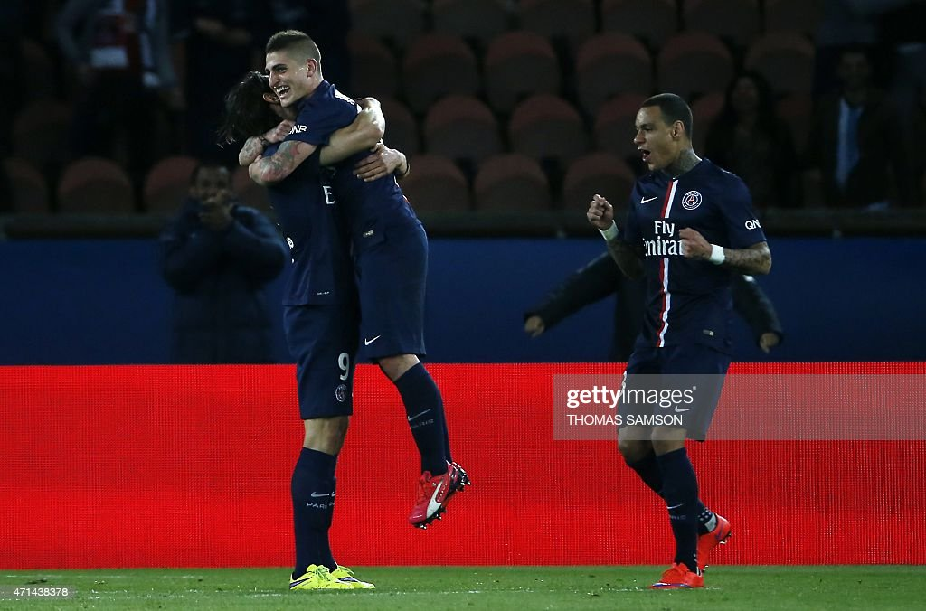 Paris Saint-Germain's Italian midfielder <a gi-track='captionPersonalityLinkClicked' href=/galleries/search?phrase=Marco+Verratti&family=editorial&specificpeople=7256509 ng-click='$event.stopPropagation()'>Marco Verratti</a> (C) celebrates with Dutch defender <a gi-track='captionPersonalityLinkClicked' href=/galleries/search?phrase=Gregory+van+der+Wiel&family=editorial&specificpeople=4187227 ng-click='$event.stopPropagation()'>Gregory van der Wiel</a> (R) and Brazilian defender <a gi-track='captionPersonalityLinkClicked' href=/galleries/search?phrase=Maxwell+-+Brazilian+Soccer+Player&family=editorial&specificpeople=546154 ng-click='$event.stopPropagation()'>Maxwell</a> after scoring a goal during the French L1 football match between Paris Saint-Germain (PSG) and Metz at the Parc des Princes stadium in Paris on April 28, 2015.