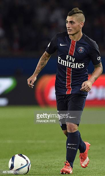 Paris SaintGermain's Italian midfielder Marco Verratti controls the ball during the French L1 football match between Paris SaintGermain vs Bordeaux...