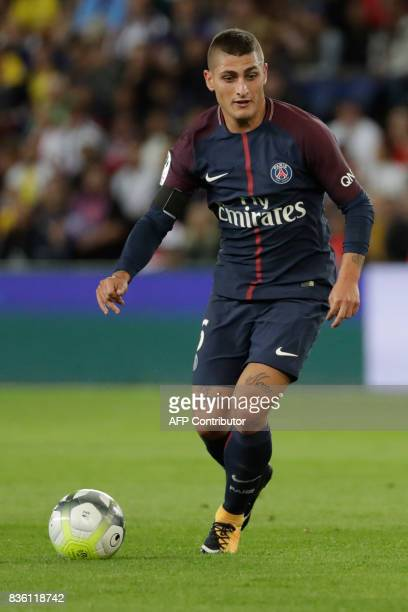 Paris SaintGermain's Italian midfielder Marco Verratti drives the ball during the French L1 football match Paris SaintGermain vs Toulouse FC at the...