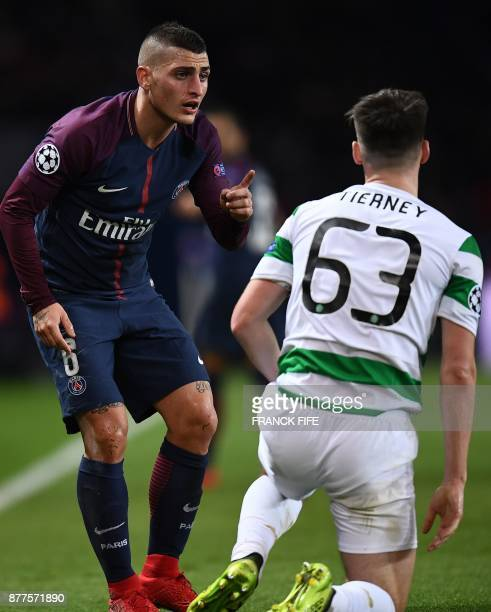 Paris SaintGermain's Italian midfielder Marco Verratti gestures towards Celtic's Scottish defender Kieran Tierney during the UEFA Champions League...