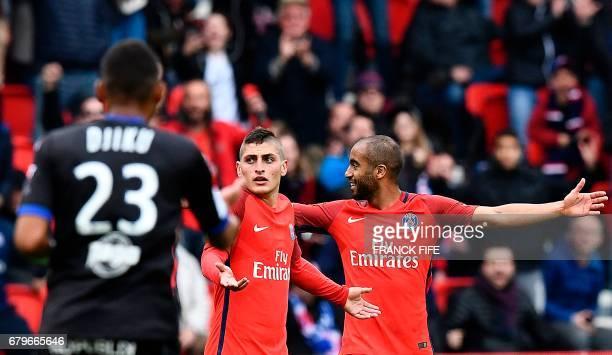Paris SaintGermain's Italian midfielder Marco Verratti reacts after scoring a goal during the French L1 football match between Paris SaintGermain and...
