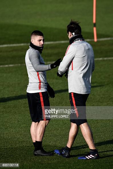 Paris SaintGermain's Italian midfielder Marco Verratti takes part in a training session on February 13 2017 in SaintGermainenLaye west of Paris on...
