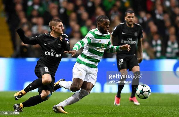 Paris SaintGermain's Italian midfielder Marco Verratti vies with Celtic's French midfielder Olivier Ntcham during the UEFA Champions League Group B...