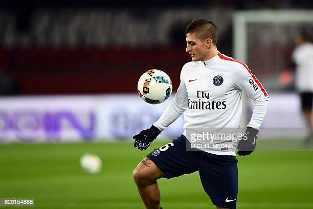 Paris SaintGermain's Italian midfielder Marco Verratti warms up prior the French L1 football match between Paris SaintGermain and OGC Nice on...