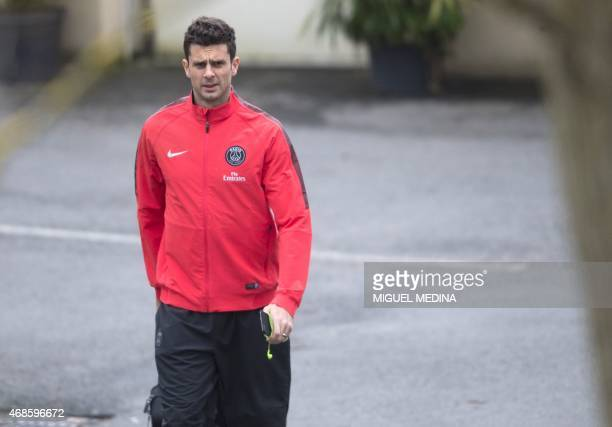 Paris SaintGermain's Italian midfielder Thiago Motta arrives for a training session on April 4 2015 at the CampdesLoges in SaintGermainenLaye western...
