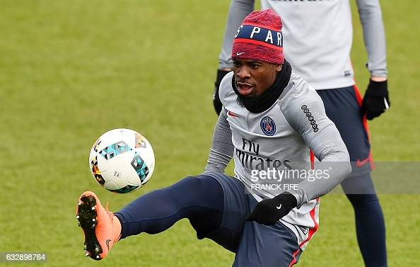 Paris SaintGermain's Ivorian defender Serge Aurier controls the ball during a training session on January 28 2017 in SaintGermainenLaye west of Paris...