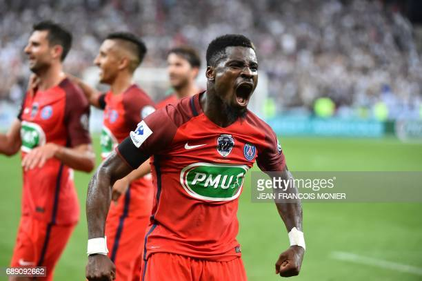 Paris SaintGermain's Ivorian defender Serge Aurier reacts after a goal during the French Cup final football match between Paris SaintGermain and...
