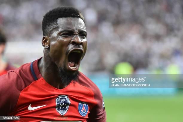 Paris SaintGermain's Ivorian defender Serge Aurier reacts after a goal during the French Cup final football match between Paris SaintGermain and...