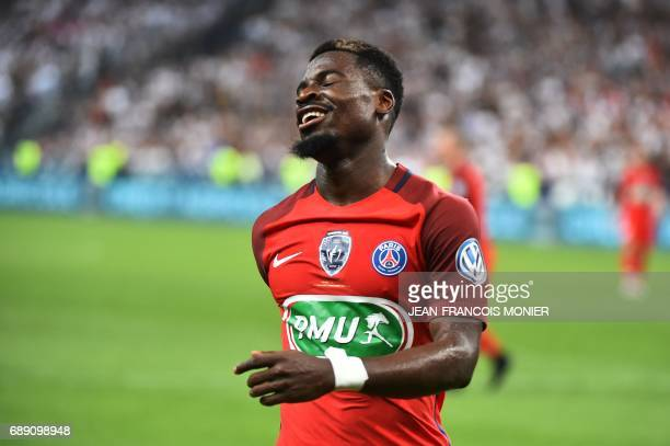 Paris SaintGermain's Ivorian defender Serge Aurier reacts during the French Cup final football match between Paris SaintGermain and Angers on May 27...