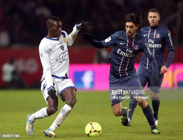 Paris SaintGermain's Javier Pastore and Bastia's Sambou Yatabare battle for the ball