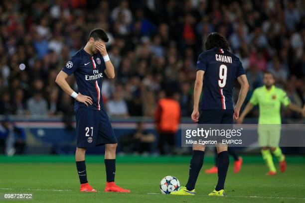 Paris SaintGermain's Javier Pastore and Edinson Cavani stand dejected after conceding