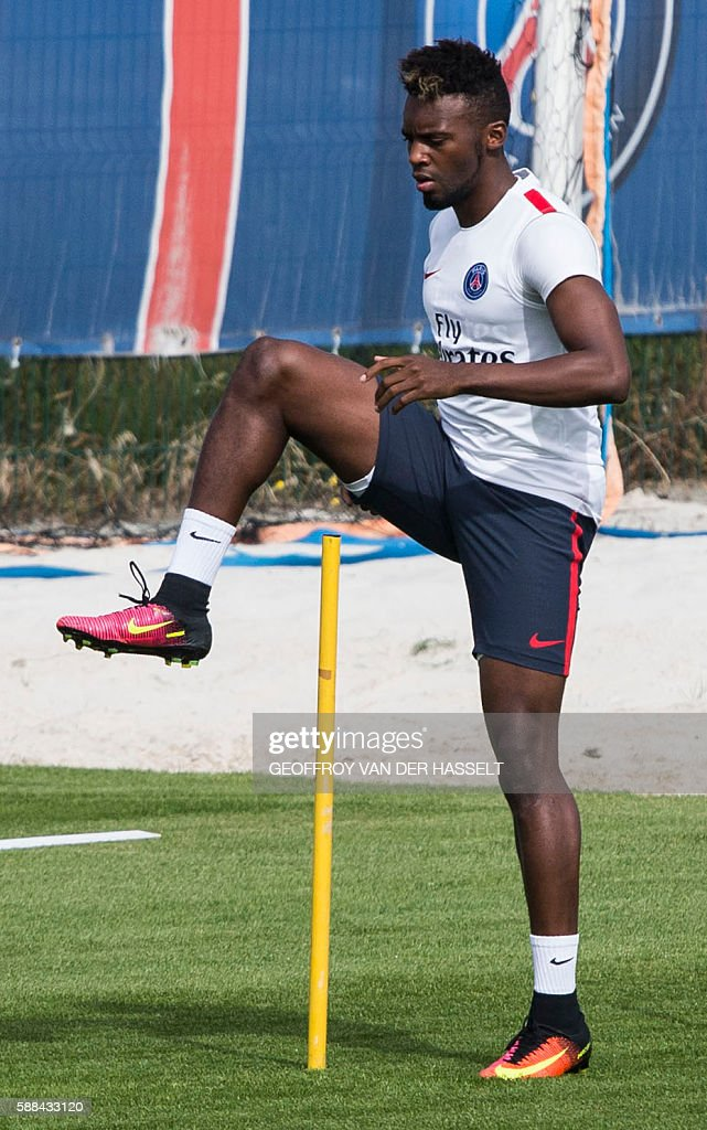 Paris SaintGermain's JeanChristophe Bahebeck takes part in a training session at the Camp des Loges training centre in SaintGermainenLaye west of...