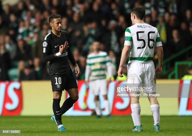 Paris SaintGermain's Junior Neymar gestures to Celtic's Anthony Ralston during the UEFA Champions League Group B match at Celtic Park Glasgow