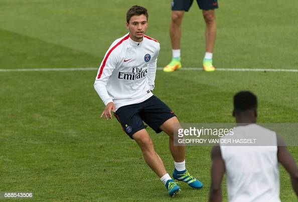 Paris SaintGermain's Lorenzo Callegari takes part in a training session at the Camp des Loges training centre in SaintGermainenLaye west of Paris on...