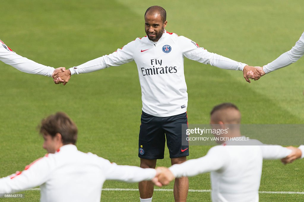 Paris SaintGermain's Lucas Moura takes part in a training session at the Camp des Loges training centre in SaintGermainenLaye west of Paris on August...