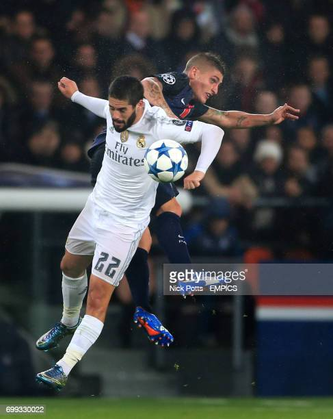 Paris SaintGermain's Marco Verratti and Real Madrid's Isco battle for the ball
