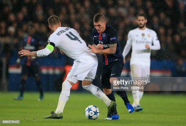 Paris SaintGermain's Marco Verratti and Real Madrid's Sergio Ramos battle for the ball