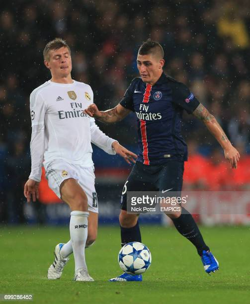 Paris SaintGermain's Marco Verratti is tackled by Real Madrid's Toni Kroos