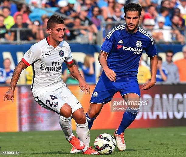 Paris SaintGermain's Marco Verratti vies with Chelsea's Cesc Fabregas during an International Champions Cup football match against in Charlotte North...