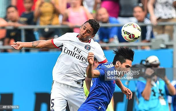 Paris SaintGermain's Marquinhosvies with Chelsea's Radamel Falcao during an International Champions Cup football match in Charlotte North Carolina on...