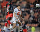 Paris SaintGermain's midfielder Younousse Sankhare vies with Bastia's defender Fethi Harek during the French Cup football match Paris vs Bastia on...