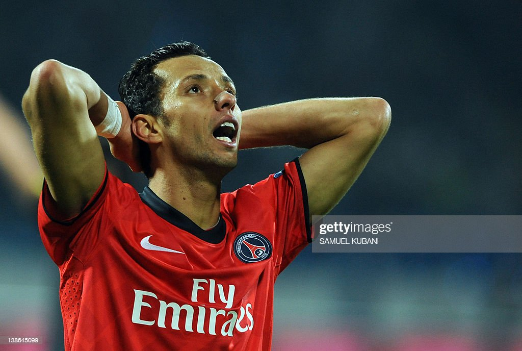 Paris Saint-Germain's Nene reacts during the UEFA Europa league, Group F, football match against Slovan Bratislava at Pasienky stadium in Bratislava on October 20, 2011.