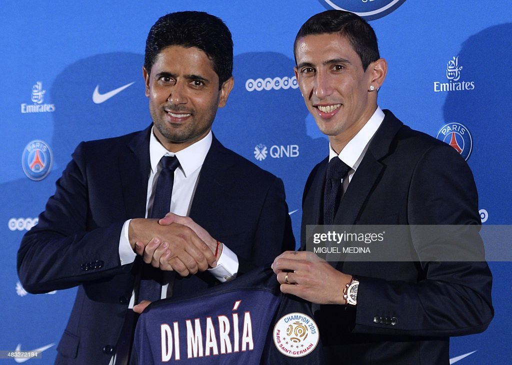¿Cuánto mide Nasser Al-Khelaifi? - Real height Paris-saintgermains-new-argentinian-midfielder-angel-di-maria-and-picture-id483272194