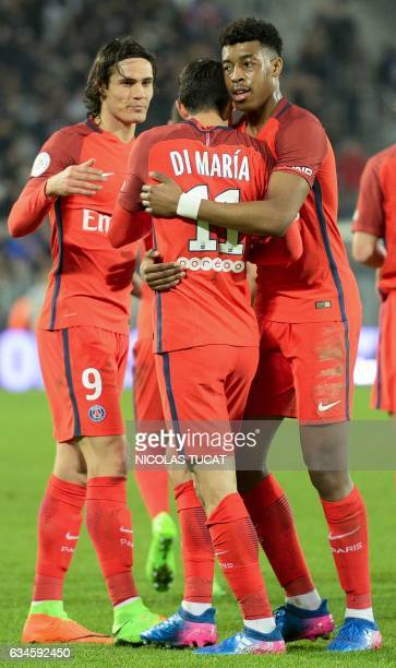 Paris SaintGermain's players celebrate after scoring a goal during the French Ligue 1 football match between Bordeaux and Paris on February 10 2017...