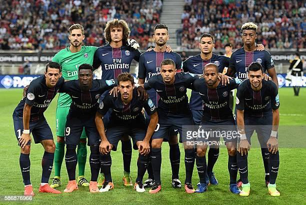 Paris SaintGermain's players Paris SaintGermain's Argentinian forward Angel Di Maria Paris SaintGermain's Ivorian defender Serge Aurier Paris...