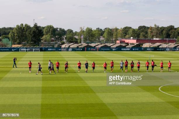 Paris SaintGermain's players take part in a training session at the Oredoo training Centre in SaintGermainenLaye on July 4 2017 / AFP PHOTO /...