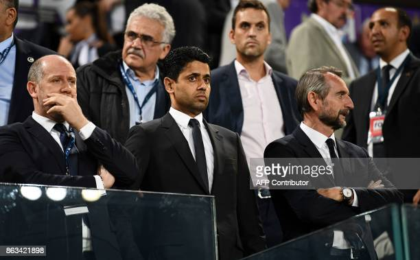 Paris SaintGermain's Portiguese sporting director Antero Henrique Paris SaintGermain's Qatari president Nasser AlKhelaifi and Paris SaintGermain's...