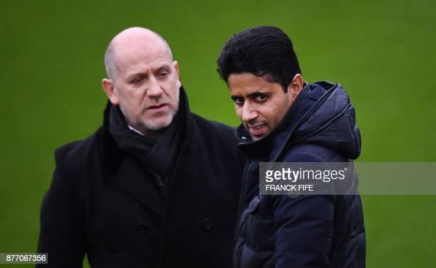 Paris SaintGermain's Portuguese sporting director Antero Henrique speaks with Paris SaintGermain's Qatari president Nasser AlKhelaïfi before a...