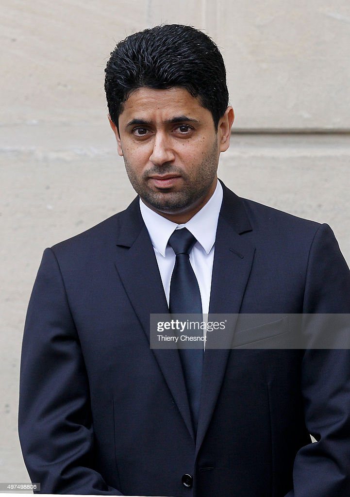 Paris Saint-Germain's President <a gi-track='captionPersonalityLinkClicked' href=/galleries/search?phrase=Nasser+Al-Khelaifi&family=editorial&specificpeople=7941556 ng-click='$event.stopPropagation()'>Nasser Al-Khelaifi</a> waits prior to a meeting at the Elysee Presidential Palace on November 17, 2015 in Paris, France. Al-Thani visits Paris to attend the security exhibition Milipol, a showcase for equipment and knowhow about internal state security and terrorism, which alternates between Paris and Doha, and meet French leaders.