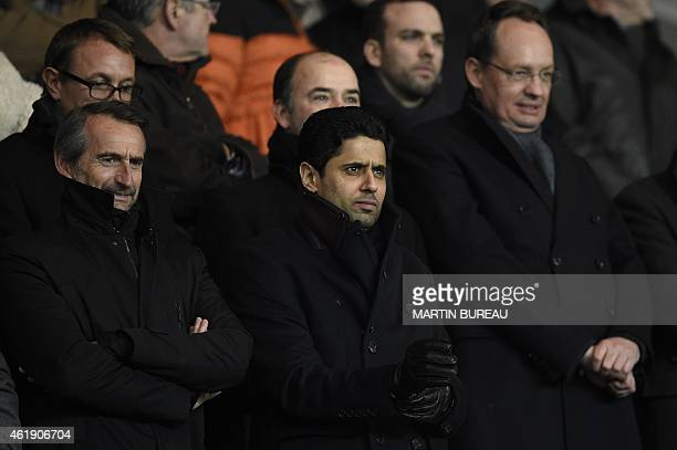 Paris SaintGermain's Qatari president Nasser AlKhelaifi attends the French Cup football match Paris SaintGermain vs Girondins de Bordeaux at the...