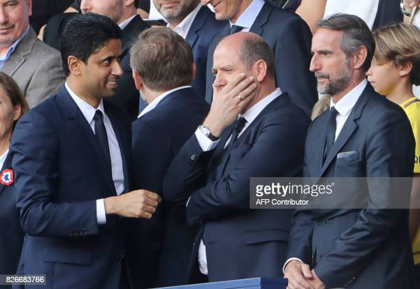 Paris SaintGermain's Qatari president Nasser AlKhelaifi Paris Saint Germain's sporting director Antero Henrique and Paris SaintGermain's assistant...