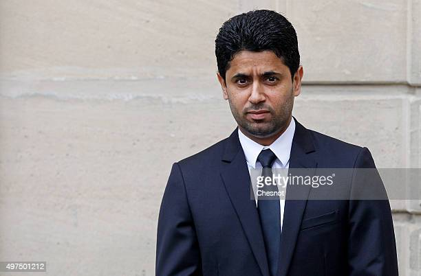 Paris SaintGermain's Qatari president Nasser AlKhelaifi waits prior to a meeting at the Elysee Presidential Palace on November 17 2015 in Paris...