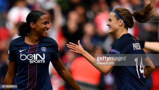 Paris SaintGermain's spanish defender Irene Paredes celebrates her goal with Paris SaintGermain's French forward MarieLaure Delie during the UEFA...